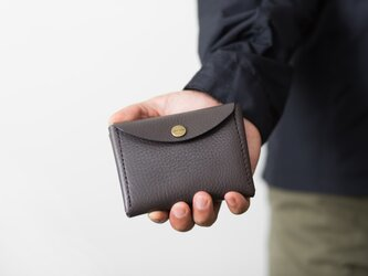 イタリア製牛革のコンパクト財布 L / グレーの画像