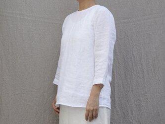 【受注製作】リネン プルオーバー8分袖/white/9号(S)の画像