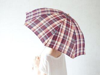 折りたたみ日傘 赤マドラスの画像