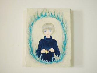 油絵 原画「flames」F0サイズ  炎の画像