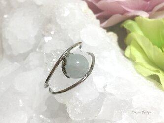 アクアマリン 指輪 3月誕生石 天然石 一粒 リング ☆ ダイナデザイン ☆ シルバー カラー 7号の画像