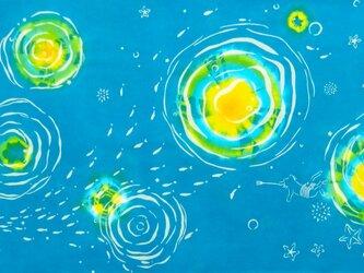 型染めてぬぐい「月と星と~海の中から~」(綿100%・絞り染め生地に抜染)の画像