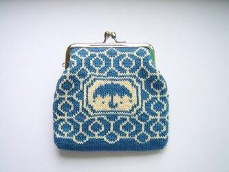 編み込みのがま口 傘 紺の画像