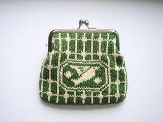 編み込みのがま口 鳥 深緑の画像