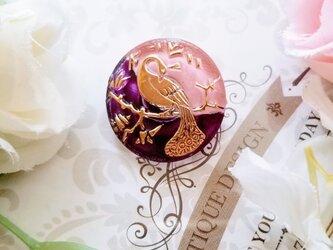 チェコガラスボタン 一点物 鳥のポニーフック ピンクの画像