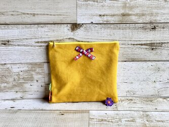 お花とリボンのフラットポーチ&マチ付きポーチ  マスタードイエロー  国産帆布  リボン  小物入れの画像