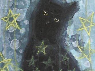 星の中の黒猫(黄色星)  F6サイズ絵画 キャンバス絵画 原画 インテリアの画像