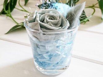 ☆グラスハーバリウム 水色①☆の画像