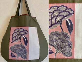 手描き手染めバティックポケットの丸バッグ〜一点もの・インドネシアの植物柄ろうけつ染〜の画像