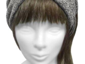 ワイドヘアバンド◆ネップ混 天竺コットンニット/グレー系×ブラックの画像
