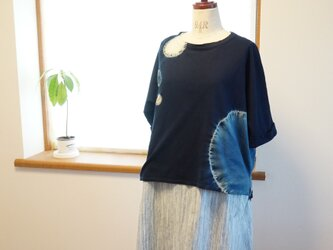 藍染 ドルマンスリーブTシャツ 丸の画像