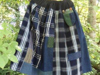 チェックのスカート ●81センチ丈● 裏地なしの画像