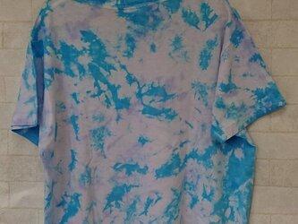 タイダイ染め さっぱりアクアマリンとパステルパープルのさわやかTシャツの画像