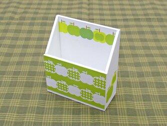 りんごの携帯ホルダー(水玉・黄緑)の画像
