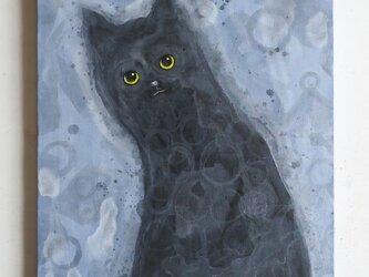 黒靄のネコ  F6サイズ絵画 キャンバス絵画 原画 インテリアの画像