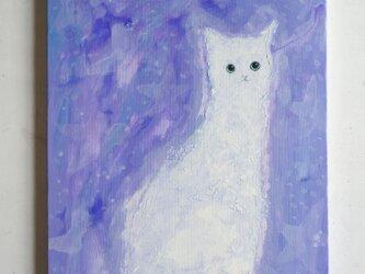 白靄のネコ  F6サイズ絵画 キャンバス絵画 原画 インテリアの画像