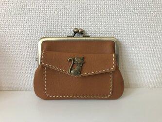 外ポッケのついた、四角い本革ぺたんこ親子がまぐちミニ財布【猫さんホック】の画像