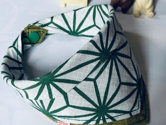 麻の葉柄犬用バンダナ6-3.Sの画像