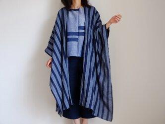 ロング ケープ コート Re_1say /リネン ストライプ 【 藍色 と 浅葱色 】1点モノ long capeの画像