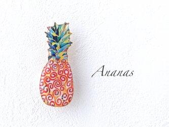 パイナップルのブローチ(オレンジ)の画像