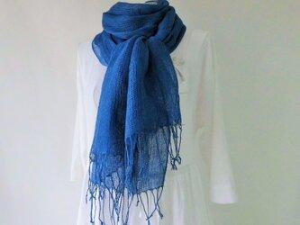 藍染め・リネン・大判・ロングストール(青い風)の画像