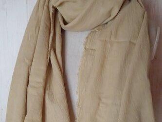 ふんわり柔らか♪コットンガーゼストール 大判 草木染め ざくろ染めの画像