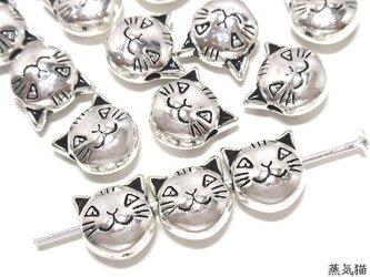 猫ビーズ 8mm 銀古美 20個【猫パーツ ピアス イヤリング素材】の画像