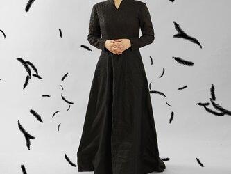 【wafu】リネン100%  ドレス リネンドレス ローブ・モンタント 舞台 パニエ付き / ブラック a092a-bck2の画像
