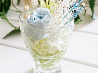 ☆グラスハーバリウム 水色系④☆の画像
