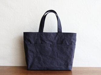 【受注製作】(外ポケット)チャコールグレー 浜松産帆布使用トートMの画像