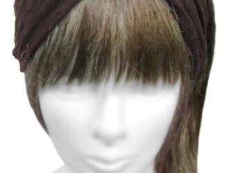 クロスワイドヘアバンド◆ワッシャー加工ニット/ブラウンの画像