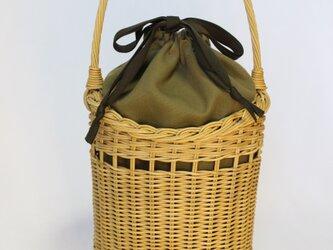 秋の籐かごバッグ/カーキ内袋の画像