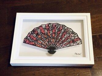 額装済み切り絵作品・桜の扇の画像