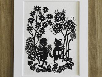 ろくとくろの切り絵「秋の踊り」の画像