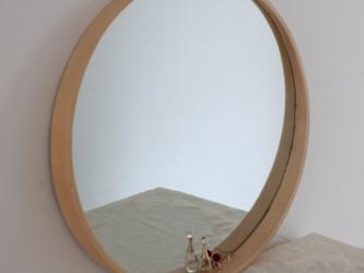 受注生産 職人手作り 北欧 シンプル 木製ラウンドミラー 壁掛け 化粧鏡 天然木 木目 シナベニア 木工 エコ LR2018の画像