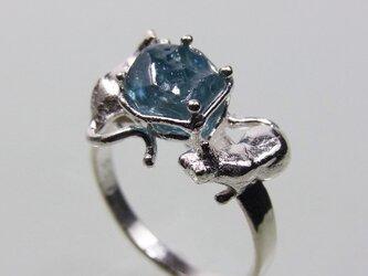 ブルージルコンと猫 * Blue Zircon & Cat Ringの画像