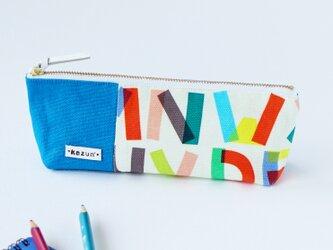 M様用! デザイナーズ生地の英字アルファベット柄ペンケース(トルコブルーの帆布)ペンケースの画像