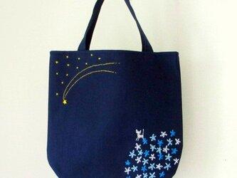 銀色猫と流れ星*手提げバッグ ブルーの画像