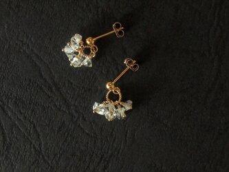 ハーキマーダイヤモンドの耳飾りの画像