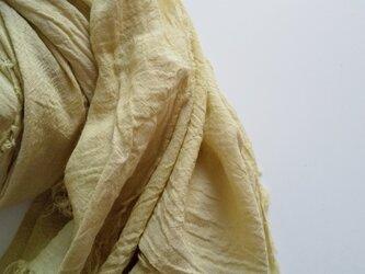 ふんわり柔らか♪コットンガーゼストール 大判 草木染め よもぎ染めの画像