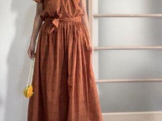 秋色先取り 綿シルクのギャザースカート オレンジの画像