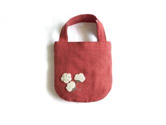 めんか刺繍のリネンミニバッグ(あか)の画像
