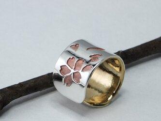 C-SakuraBsW9  銀と真鍮桜のイヤーカフ 幅9mm <鏡面/ツヤ消し 選択可>の画像
