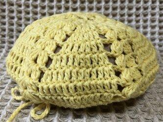 ☘️クローバー柄のベレー帽*(黄色)*キッズの画像