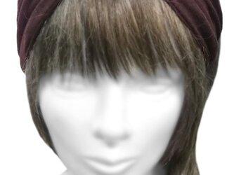 クロスワイドヘアバンド◆コットンニット/エンジ×黒の画像