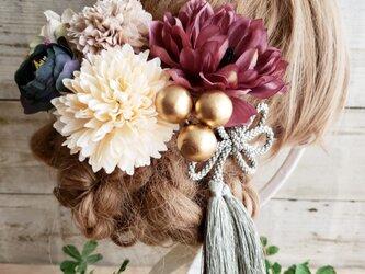 大人可愛い アンティーク風アネモネの髪飾り7点Set No592の画像