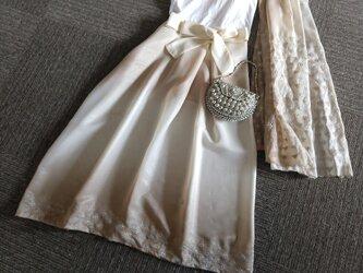 ★インドサリーのセット★ベージュ×銀糸★ギャザースカート+ショール★受注製作★の画像