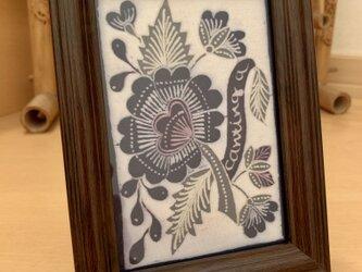 額入り・インドネシアの花柄バティック〜手描き手染めバティック(ろうけつ染)〜の画像