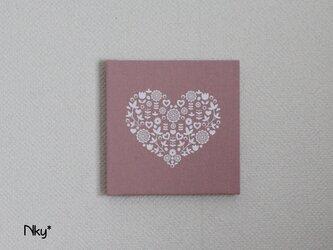 ハートのファブリックパネル M-1102◆ピンク/白の画像