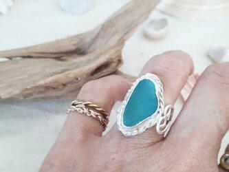 【11号】silver925  seaglass ring - side heart -の画像